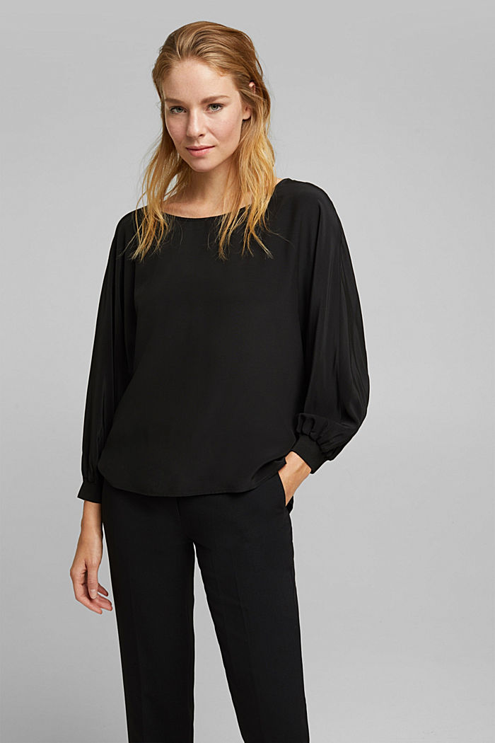 Batwing blouse made of LENZING™ ECOVERO™, BLACK, detail image number 0
