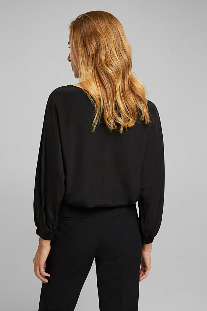Batwing blouse made of LENZING™ ECOVERO™, BLACK, detail image number 3
