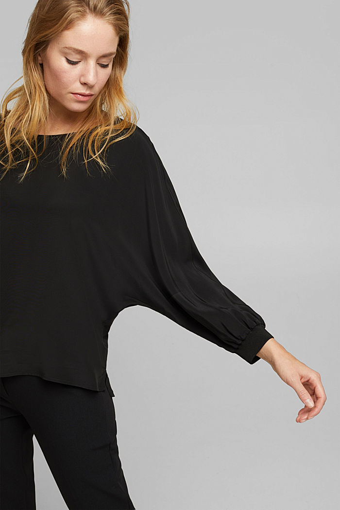Batwing blouse made of LENZING™ ECOVERO™, BLACK, detail image number 2
