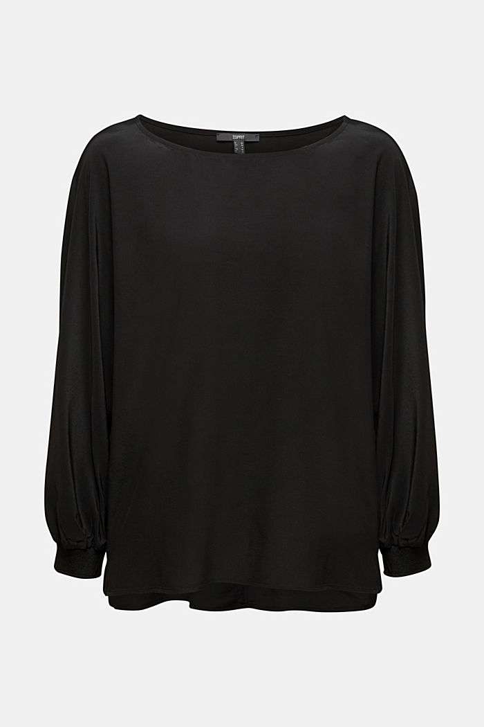 Batwing blouse made of LENZING™ ECOVERO™, BLACK, overview