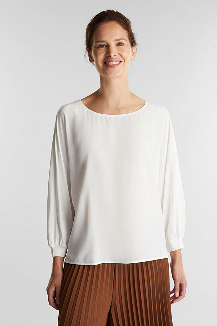 Batwing blouse made of LENZING™ ECOVERO™, OFF WHITE, detail image number 0