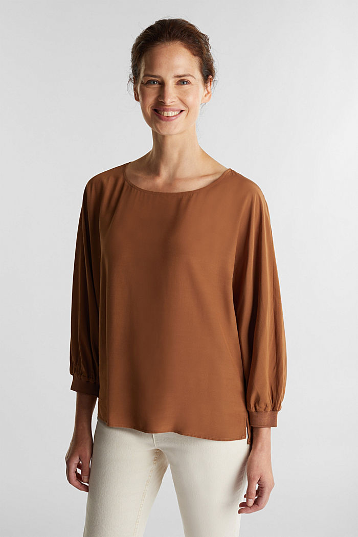 Batwing blouse made of LENZING™ ECOVERO™, TOFFEE, detail image number 0