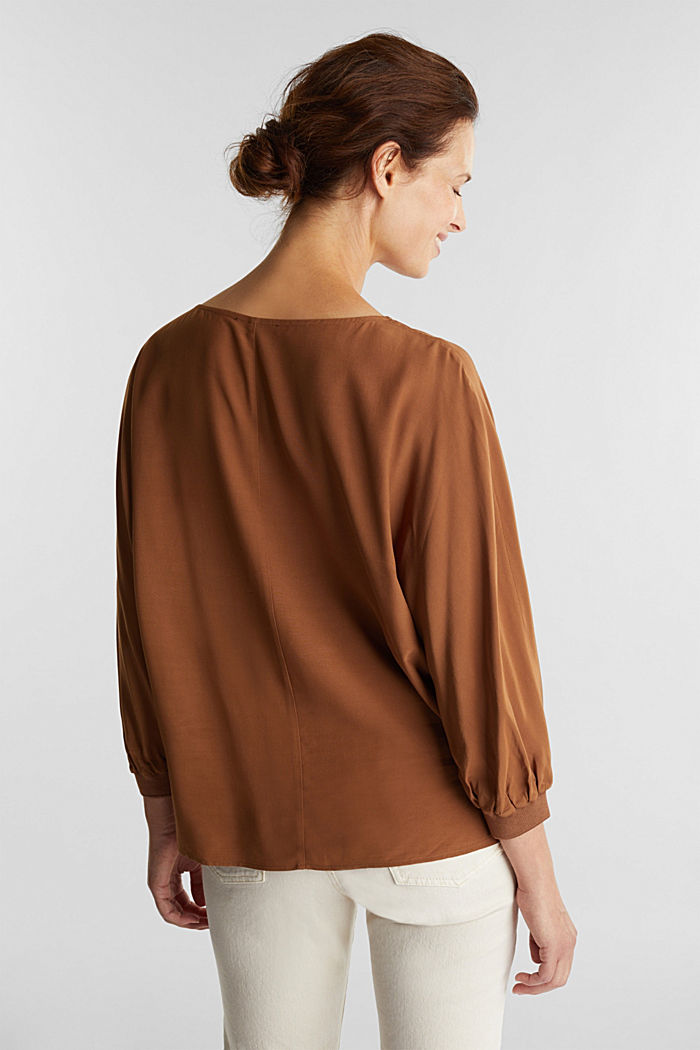 Batwing blouse made of LENZING™ ECOVERO™, TOFFEE, detail image number 2