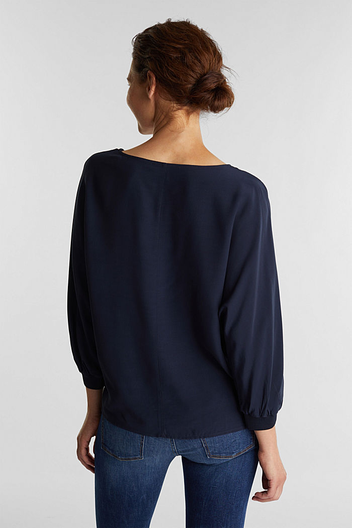 Batwing blouse made of LENZING™ ECOVERO™, NAVY, detail image number 3