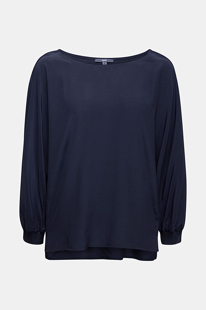 Batwing blouse made of LENZING™ ECOVERO™, NAVY, detail image number 5