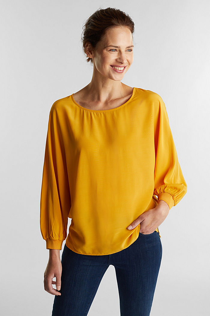 Batwing blouse made of LENZING™ ECOVERO™, HONEY YELLOW, detail image number 0