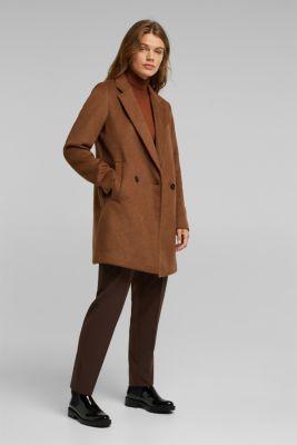 Wool blend: blazer coat with lapel, RUST BROWN, detail