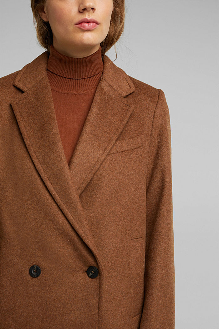 Wool blend: blazer coat with lapel, RUST BROWN, detail image number 2