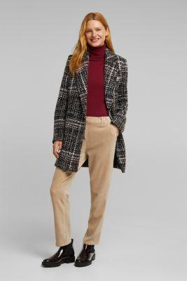 With Italian wool: bouclé coat, BLACK 3, detail