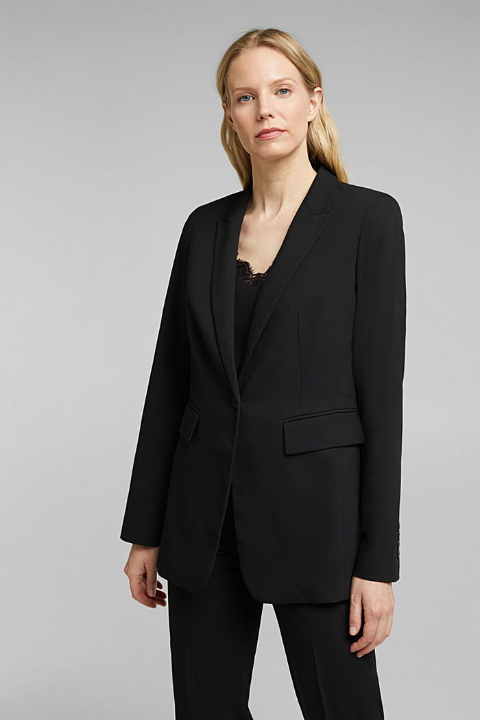 Blazer with a striped texture, BLACK, detail image number 0