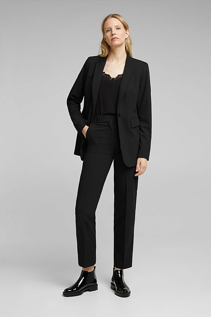 Blazer with a striped texture, BLACK, detail image number 1