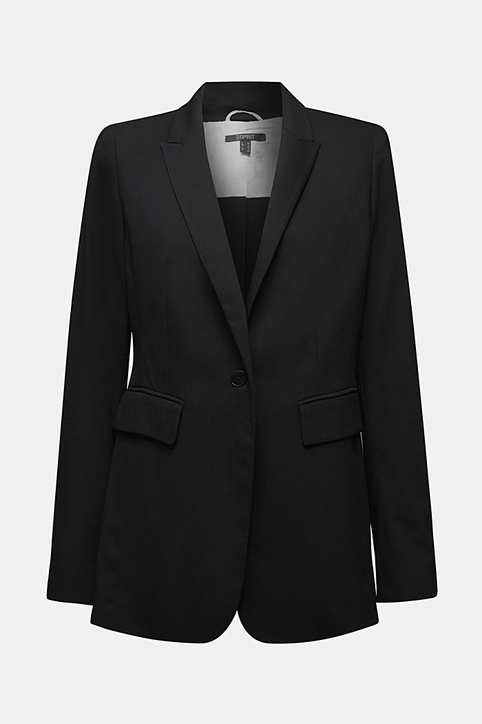Blazer with a striped texture, BLACK, detail image number 5