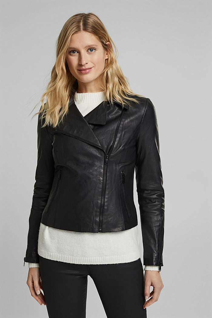 Biker jacket made of 100% lamb leather
