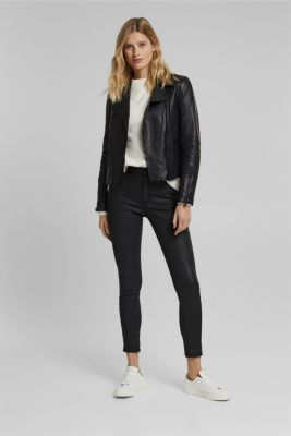 Biker jacket made of 100% lamb leather, BLACK, detail
