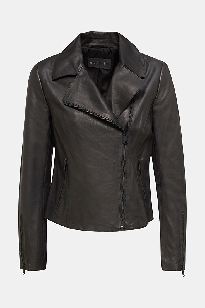 Biker jacket made of 100% lamb leather, BLACK, overview
