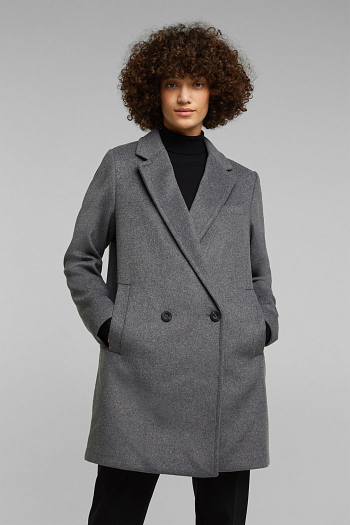 With wool: blazer coat, GUNMETAL, overview