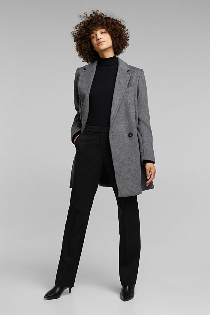 With wool: blazer coat, GUNMETAL, detail image number 1