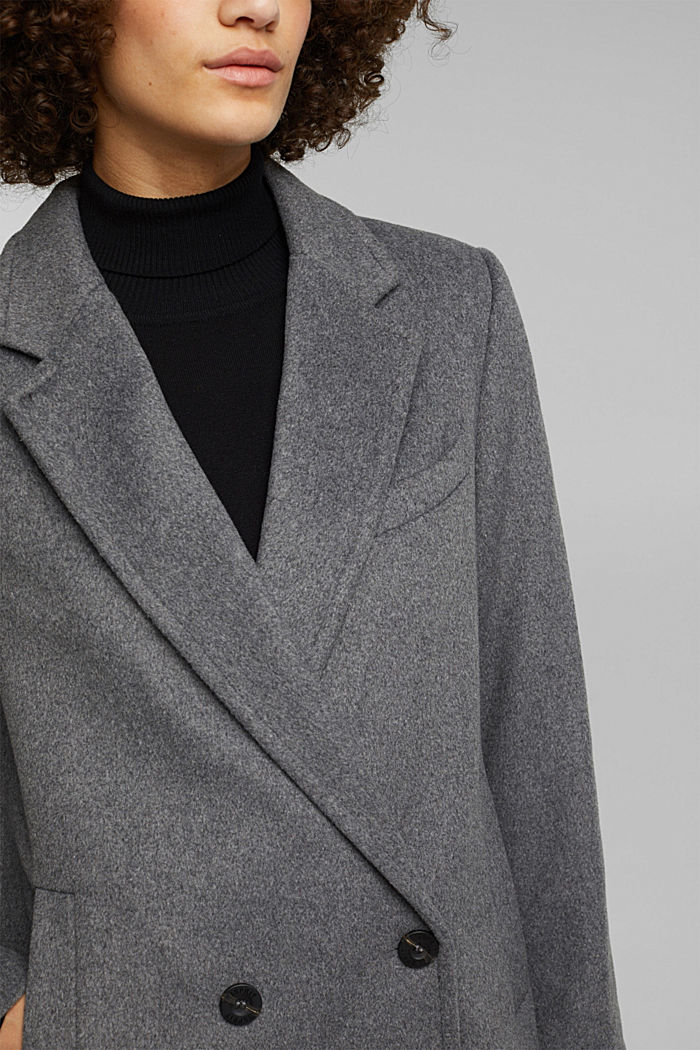 With wool: blazer coat, GUNMETAL, detail image number 2