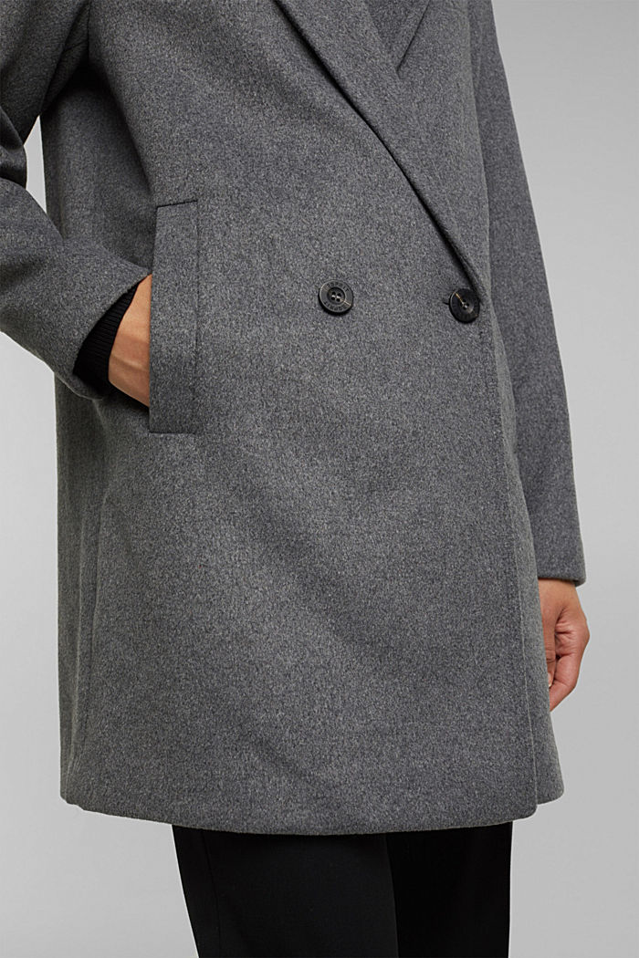 With wool: blazer coat, GUNMETAL, detail image number 5