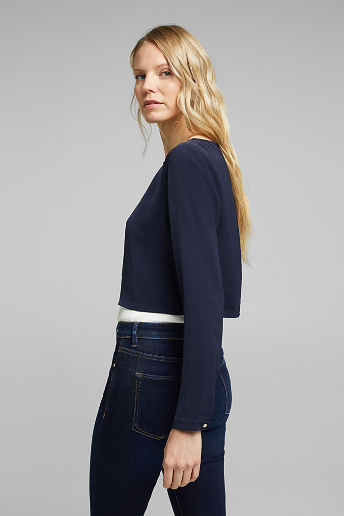 Recycled: flowing, cropped jacket, NAVY, detail image number 3