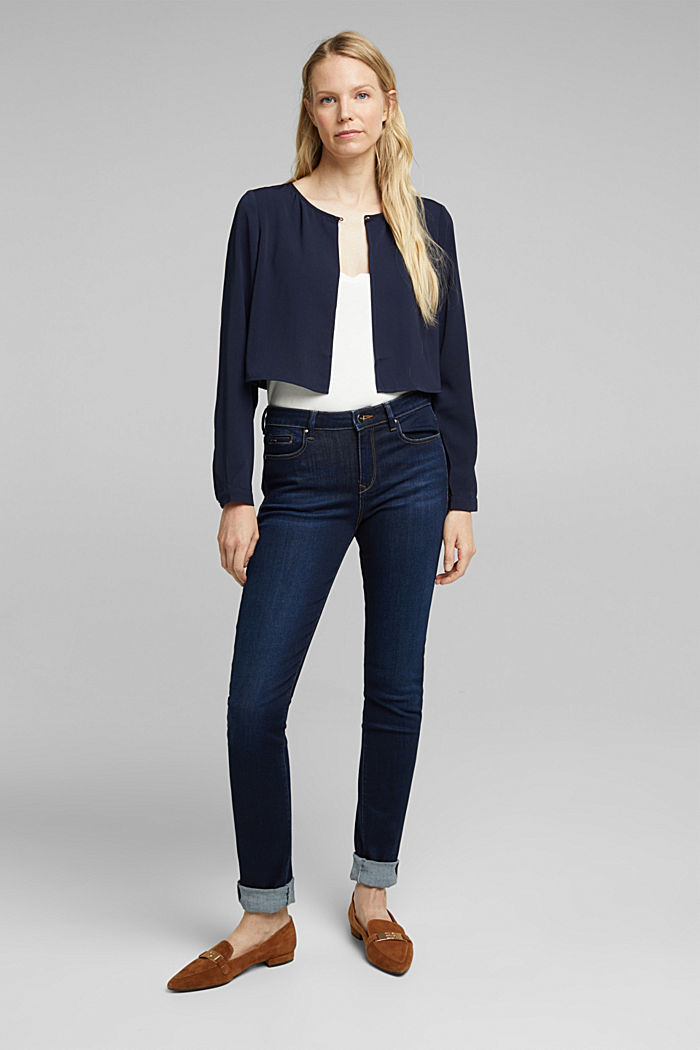 Recycled: flowing, cropped jacket, NAVY, detail image number 1