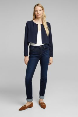 Recycled: flowing, cropped jacket, NAVY, detail