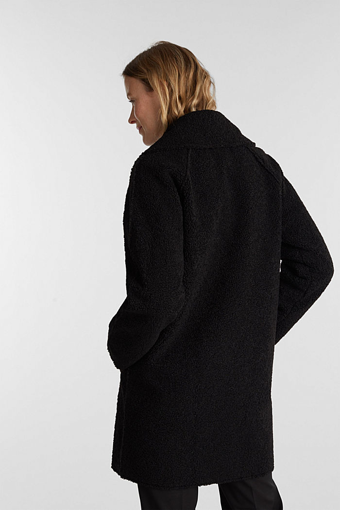 Double-faced coat in a plush look, BLACK, detail image number 2