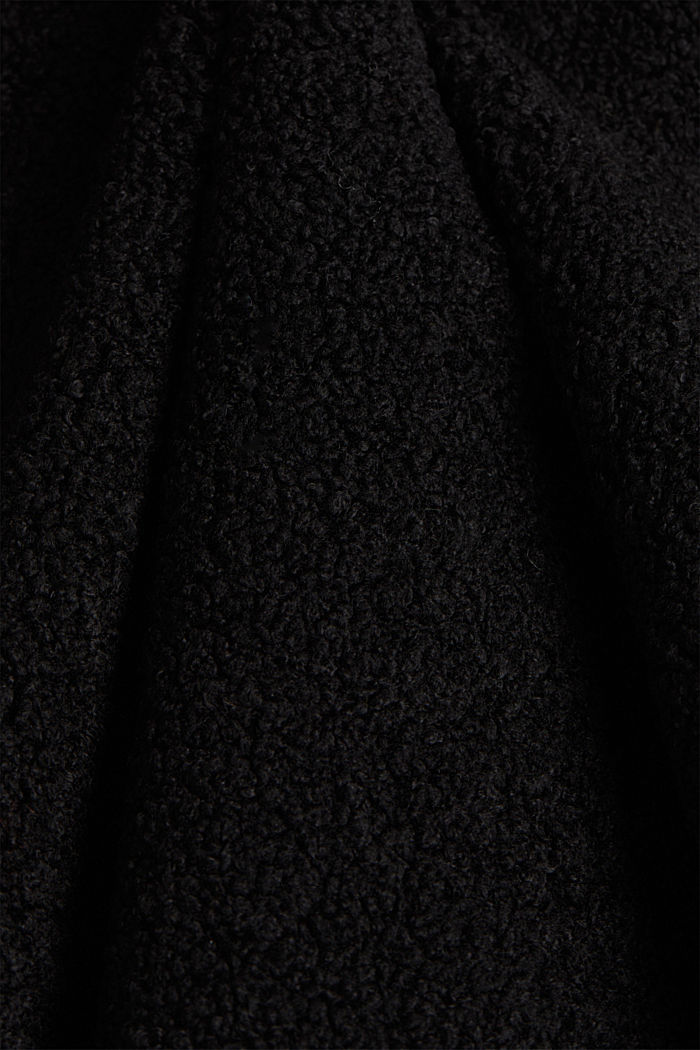 Double-faced coat in a plush look, BLACK, detail image number 3