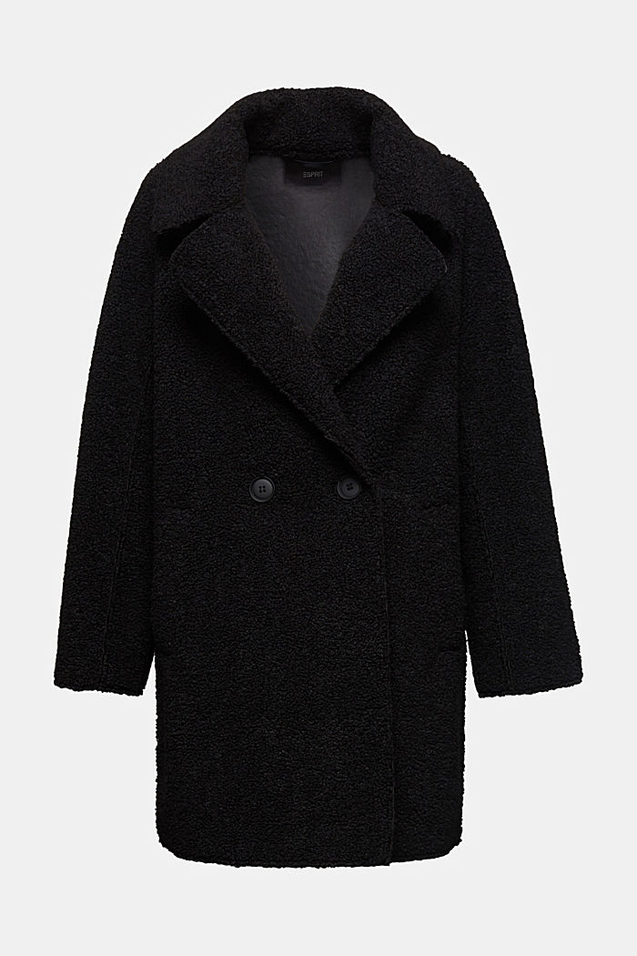 Double-faced coat in a plush look, BLACK, overview