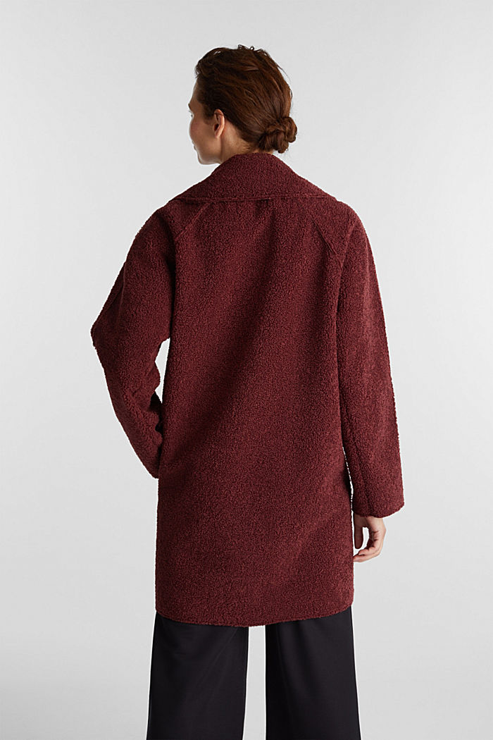 Double-faced coat in a plush look, BORDEAUX RED, detail image number 3