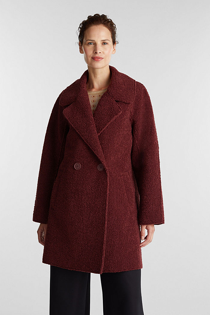 Double-faced coat in a plush look, BORDEAUX RED, detail image number 5