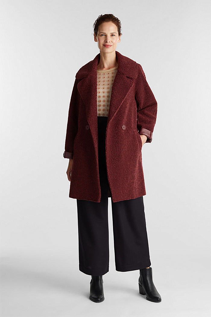 Double-faced coat in a plush look, BORDEAUX RED, detail image number 1