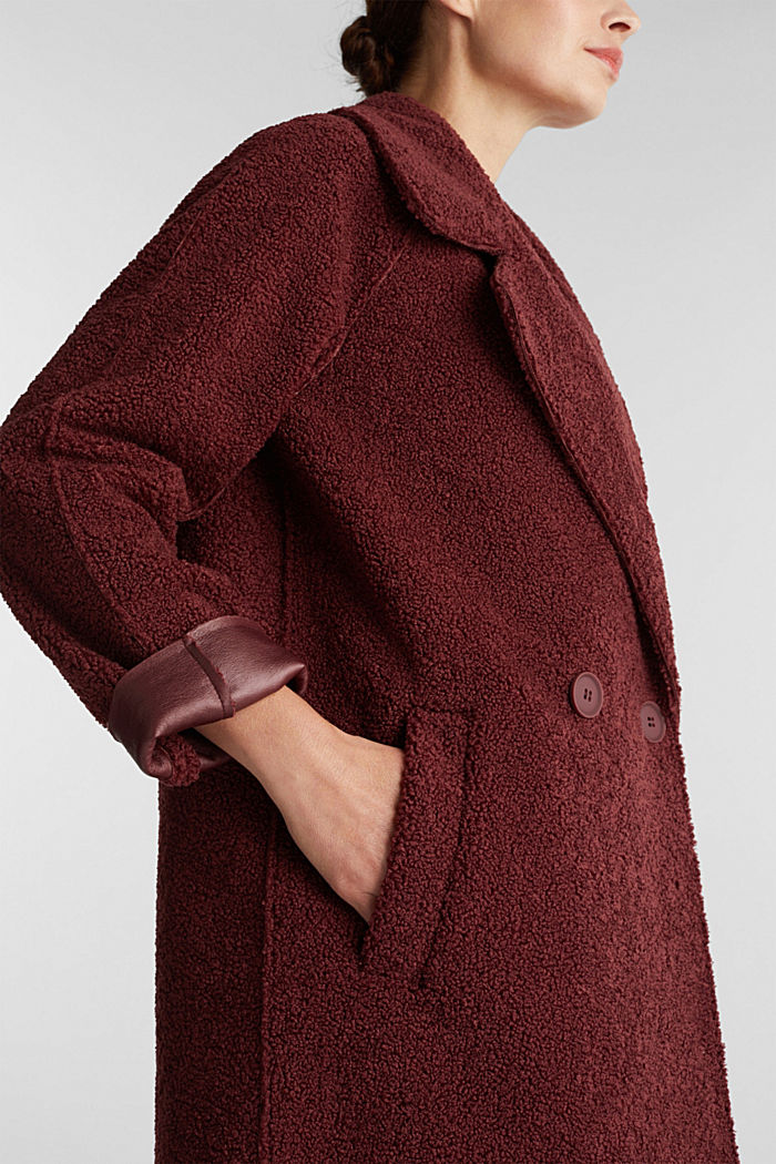 Double-faced coat in a plush look, BORDEAUX RED, detail image number 2