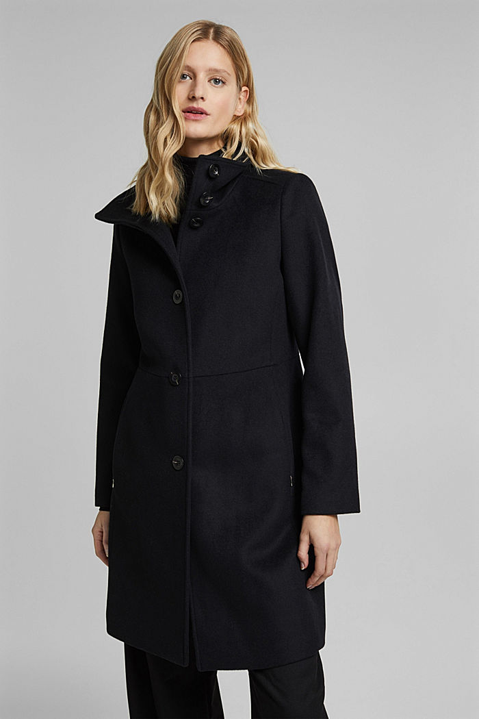 Made of blended wool: Coat with a stand-up collar, BLACK, detail image number 0
