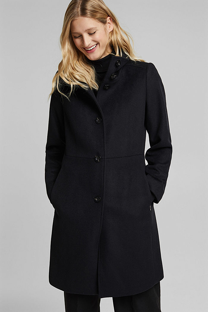 Made of blended wool: Coat with a stand-up collar, BLACK, detail image number 5