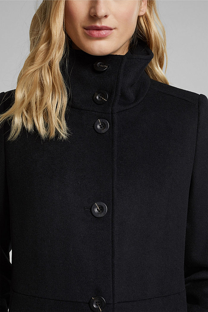 Made of blended wool: Coat with a stand-up collar, BLACK, detail image number 2