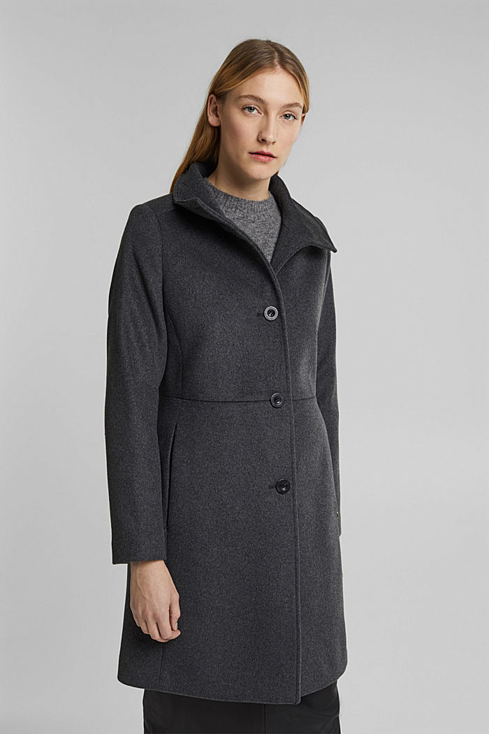 Made of blended wool: Coat with a stand-up collar, ANTHRACITE, detail image number 0