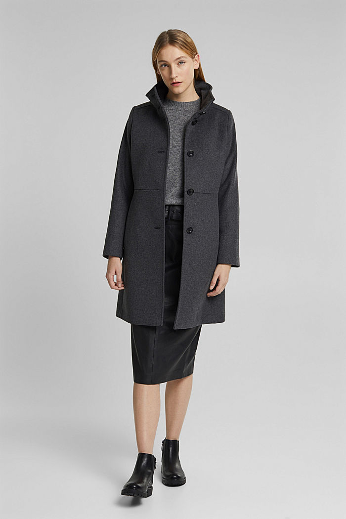 In misto lana: cappotto con collo alla coreana, ANTHRACITE, detail image number 0