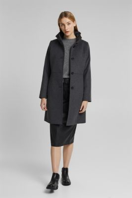 Made of blended wool: Coat with a stand-up collar, ANTHRACITE, detail