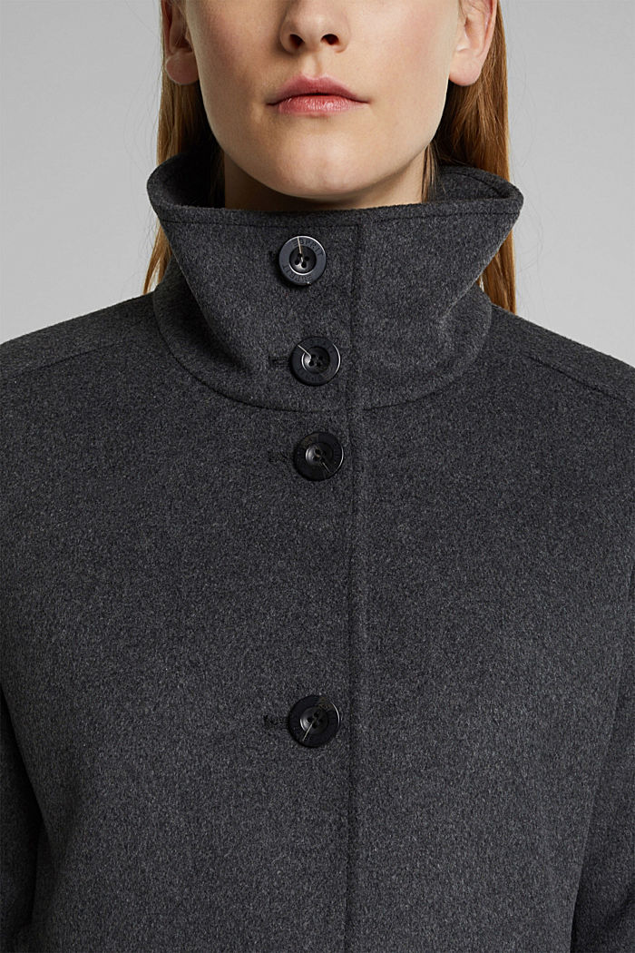 In misto lana: cappotto con collo alla coreana, ANTHRACITE, detail image number 1