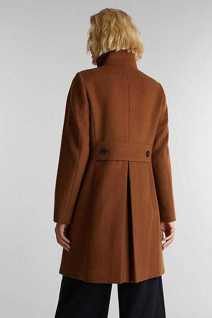 Made of blended wool: Coat with a stand-up collar, RUST BROWN, detail image number 3