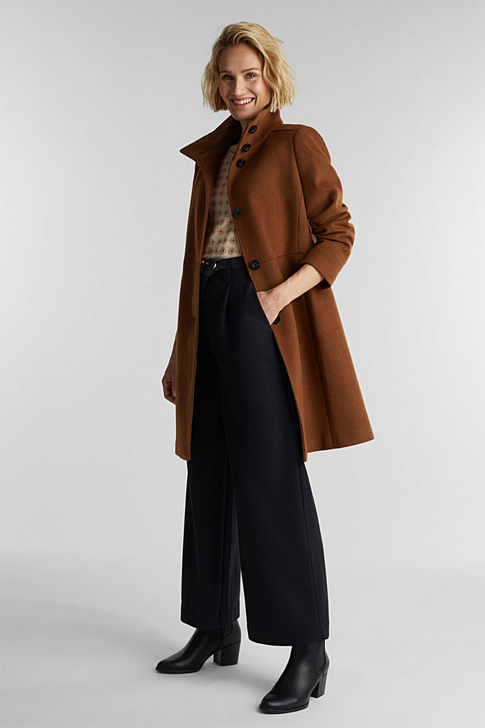 Made of blended wool: Coat with a stand-up collar, RUST BROWN, detail image number 1