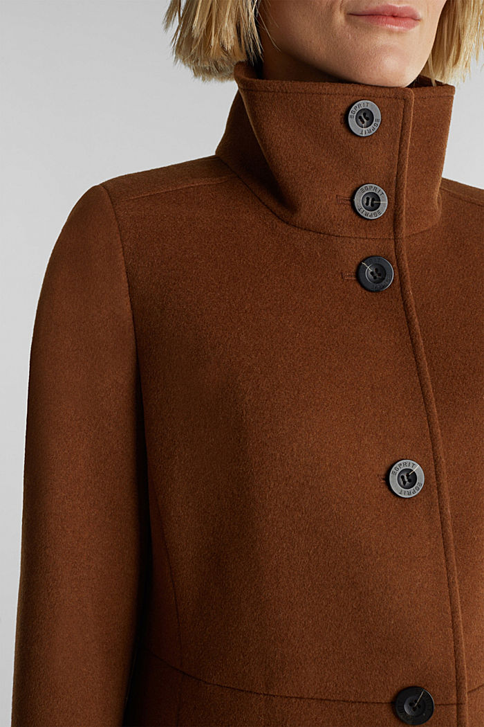 Made of blended wool: Coat with a stand-up collar, RUST BROWN, detail image number 2