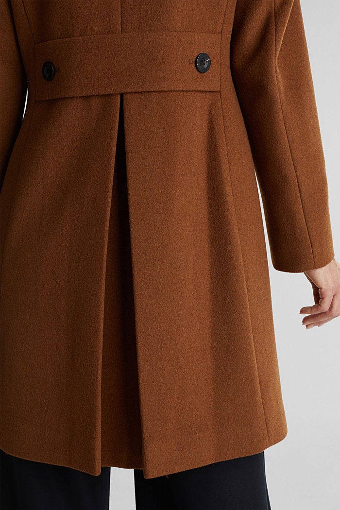 Made of blended wool: Coat with a stand-up collar, RUST BROWN, detail image number 5