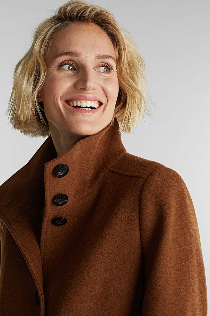 Made of blended wool: Coat with a stand-up collar, RUST BROWN, detail image number 6