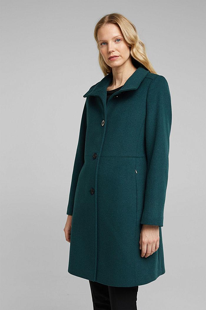 Coat made of blended wool, BOTTLE GREEN, detail image number 0