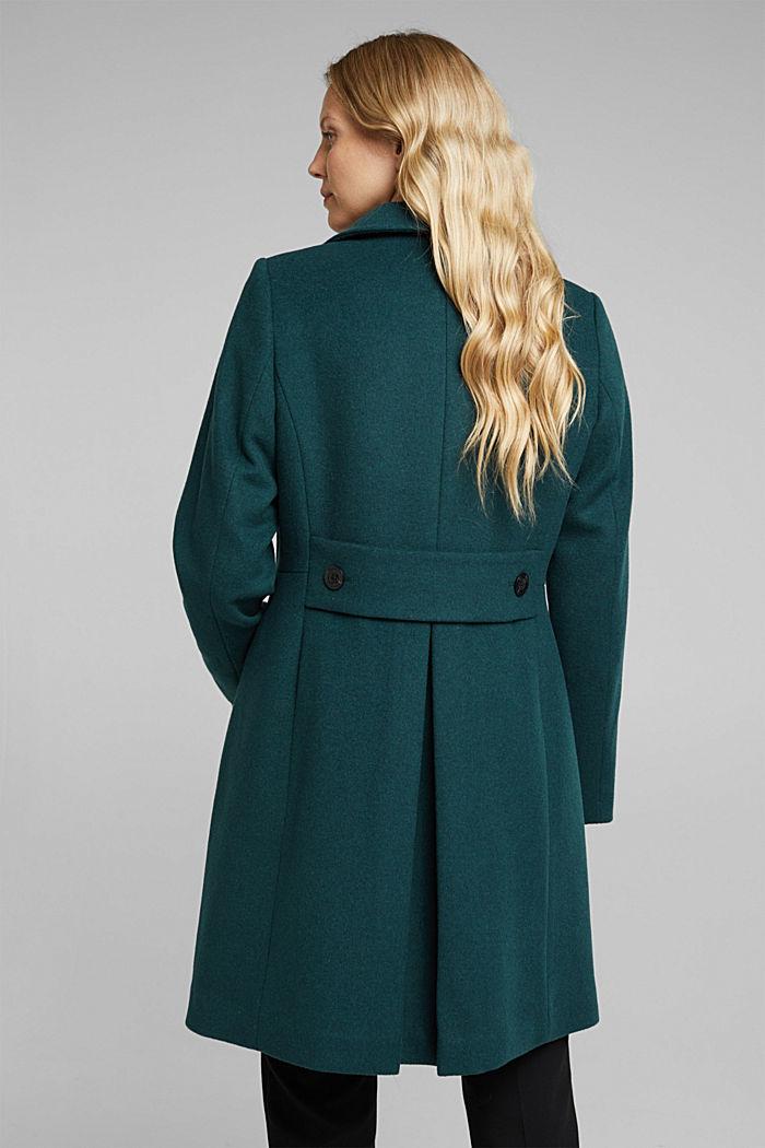 Coat made of blended wool, BOTTLE GREEN, detail image number 3