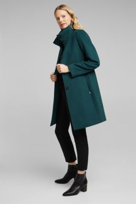 Coat made of blended wool, BOTTLE GREEN, detail