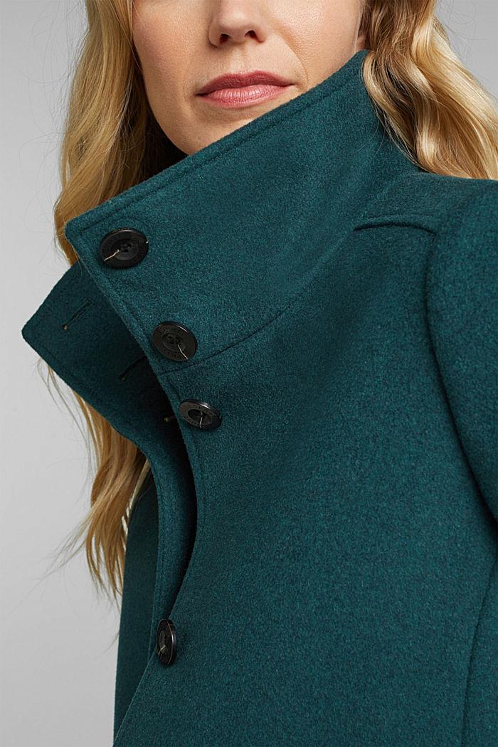 Coat made of blended wool, BOTTLE GREEN, detail image number 2