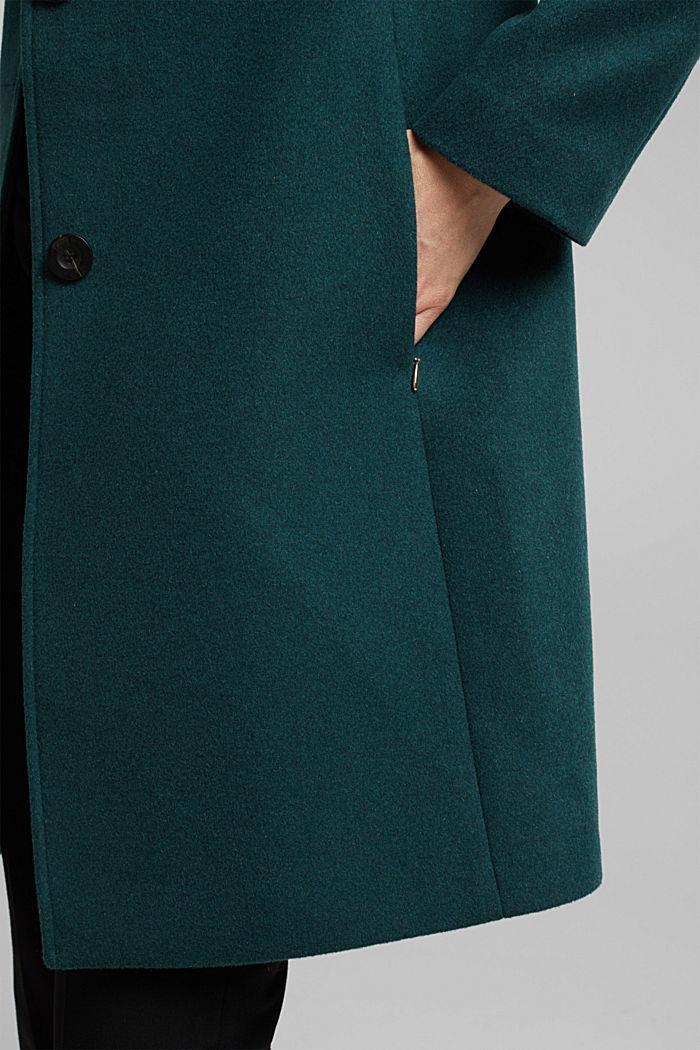 Coat made of blended wool, BOTTLE GREEN, detail image number 5